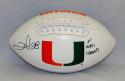 Clinton Portis Autographed Hurricanes Logo Football W/ Natl Champs- JSA W Auth
