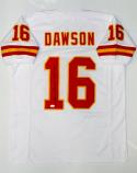 Len Dawson Autographed White Pro Style Jersey With HOF- JSA W Authenticated