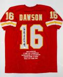 Len Dawson Autographed Red Pro Style Stat Jersey W/ HOF- JSA W Authenticated