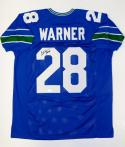 Curt Warner Autographed Blue Pro Style Jersey W/ ROH- JSA W Authenticated