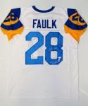 Marshall Faulk Autographed White Pro Style Jersey W/ NFL MVP- JSA W Auth