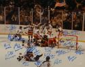 1980 Miracle On Ice Team USA Autographed 16x20 Photo 17 Sigs W/ Inscriptions- JSA W Auth