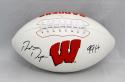 Ron Dayne Autographed Wisconsin Badgers Logo Football W/ HT- JSA W Auth