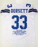 Tony Dorsett Autographed White Pro Style Stat Jersey- JSA Witnessed Auth
