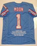 Warren Moon Autographed Blue Pro Style Stat Jersey W/ HOF- JSA Authenticated