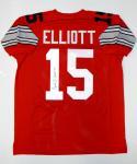 Ezekiel Elliott Autographed Red College Style Jersey- JSA Witnessed Auth