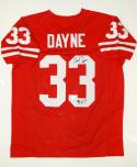 Ron Dayne Autographed Red College Style Jersey W/ HT- JSA Witnessed Auth