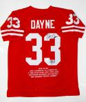 Ron Dayne Autographed Red College Style Stat Jersey W/ HT- JSA Witnessed Auth