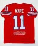 Andre Ware Autographed Red College Style Stat Jersey- JSA Witnessed Auth