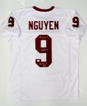 Dat Nguyen Autographed White College Style Jersey W/ Awards- JSA W Auth