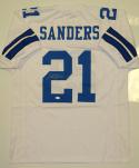 Deion Sanders Autographed White Pro Style Jersey- JSA Witnessed Auth