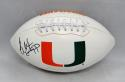 Warren Sapp Autographed Hurricanes Logo Football- JSA Witnessed Auth