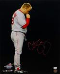 Curt Schilling Signed *Red Boston Red Sox 16x20 Kissing Necklace Photo- JSA W Auth