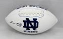 Lou Holtz Autographed Notre Dame Fighting Irish Logo Football- JSA W Auth