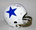 Roger Staubach Signed *Blk Dallas Cowboys F/S White TK Helmet W/ HOF- JSA W Auth