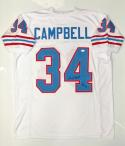 Earl Campbell Autographed White Pro Style Jersey With HOF- JSA Witnessed Auth