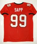 Warren Sapp Autographed Red Pro Style Jersey- JSA Witnessed Authenticated