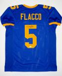 Joe Flacco Autographed Blue College Style Jersey- JSA Witnessed Authenticated