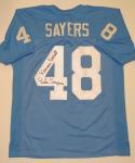 Gale Sayers Autographed Lt Blue College Style Jersey W/ Kansas Comet- JSA W Auth