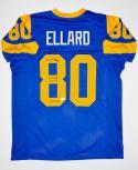 Henry Ellard Autographed Blue Pro Style Jersey W/ Insc- JSA W Auth
