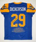 Eric Dickerson Autographed Blue Pro Style Stat Jersey W/ HOF- JSA Witnessed Auth
