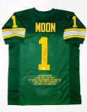 Warren Moon Autographed Green Pro Style Stat Jersey With CHOF and JSA W Auth