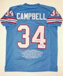 Earl Campbell Autographed Blue Stat Jersey W/ HT- JSA Witnessed Auth