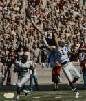 Mike Evans Autographed *Blue Texas A&M 8x10 Leaping Photo- JSA Witnessed Auth