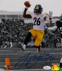 LeVeon Bell Autographed Steelers 8x10 B&W With Color PF. Photo- JSA W Auth