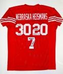 Johnny Rodgers Mike Rozier Eric Crouch Signed Red College Style Jersey-JSA W Auth