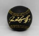 Ivan Rodriguez Autographed Rawlings OML Black Baseball- JSA Witnessed Auth