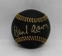 Hank Aaron Autographed Rawlings OML Black Baseball- JSA Authenticated