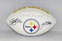 LeVeon Bell Antonio Brown Signed Pittsburgh Steelers Logo Football- JSA W Auth