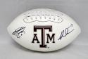 Johnny Manziel Mike Evans Autographed Texas A&M Aggies Logo Football- JSA W Auth