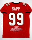 Warren Sapp Autographed Red Pro Style Stat1 Jersey With HOF- JSA Witnessed Auth