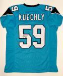 Luke Kuechly Autographed Blue Pro Style Jersey- JSA Witnessed Auth