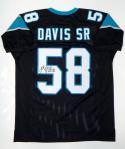 Thomas Davis Autographed Black Pro Style Jersey- JSA Witnessed Auth