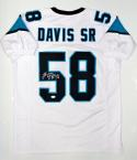 Thomas Davis Autographed White Pro Style Jersey- JSA Witnessed Auth