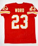 Barry Word Autographed Red Pro Style Jersey- JSA Witnessed Authenticated