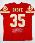 Christian Okoye Autographed Red Pro Style Stat Jersey- JSA Witnessed Auth