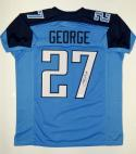Eddie George Autographed Blue Pro Style Jersey- JSA Witnessed Authenticated