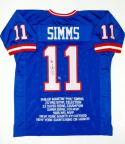 Phil Simms Autographed Blue Pro Style Stat Jersey- JSA Witnessed Auth