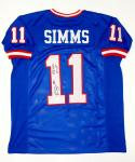 Phil Simms Autographed Blue Pro Style Jersey With SB MVP- JSA Witnessed Auth