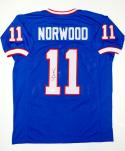 Scott Norwood Autographed Blue Pro Style Jersey- JSA Witnessed Authenticated