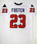 Arian Foster Autographed White Pro Style Jersey- JSA Witnessed Authenticated