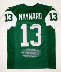 Don Maynard Autographed Green Pro Style Stat Jersey With HOF- JSA Witnessed Auth