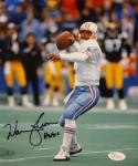 Warren Moon Autographed Houston Oilers 8x10 Passing Photo With HOF- JSA W Auth