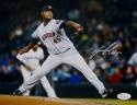 Michael Feliz Autographed Houston Astros 8X10 Pitching Photo- JSA Witnessed Auth