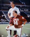 Brian Bosworth Barry Switzer Signed OU Sooners 16x20 Kneeling Photo- JSA W Auth