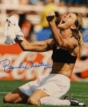 Brandi Chastain Autographed Team USA 16x20 Shirt Off Photo- JSA Witnessed Auth